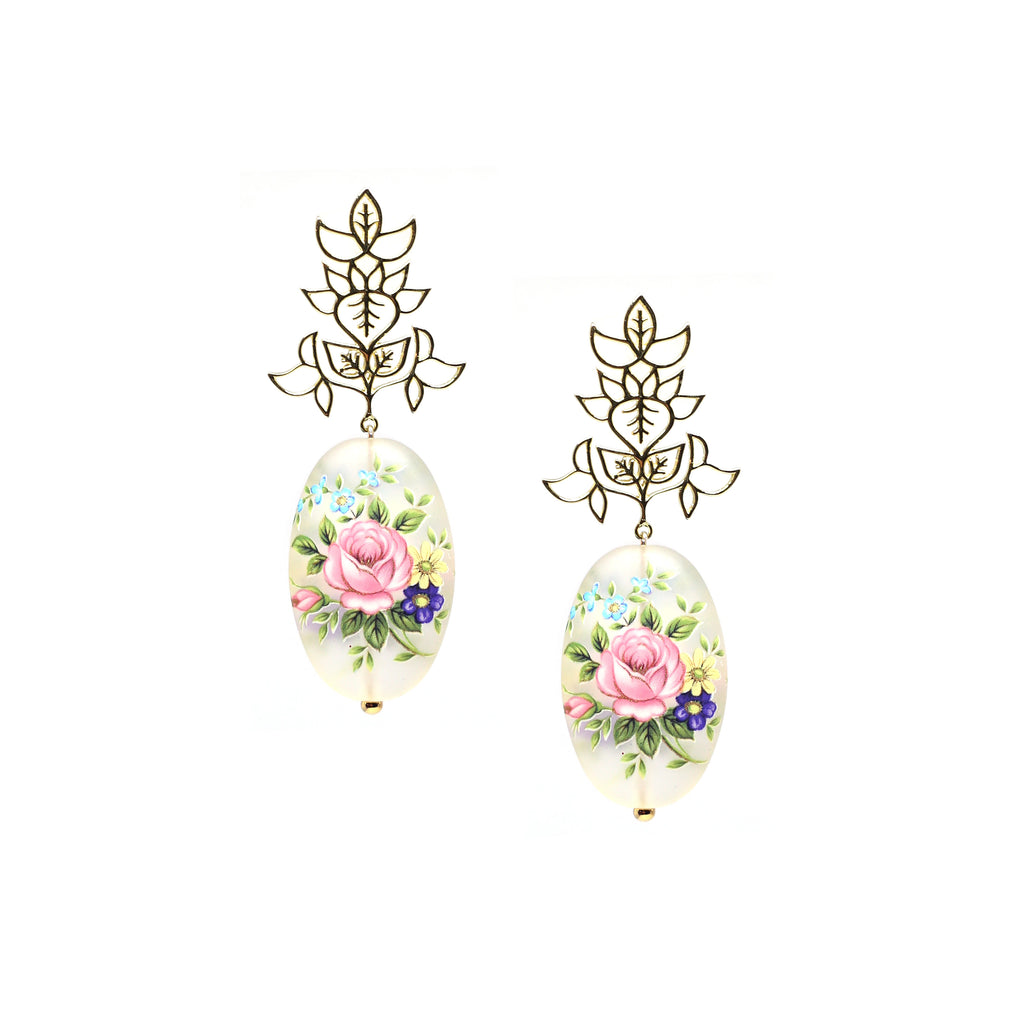 Leaf Taar Earrings with Floral Bead