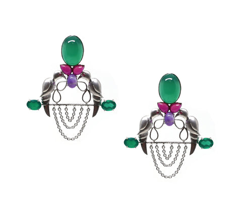Leaf Taar Earrings with Intricate Black Design