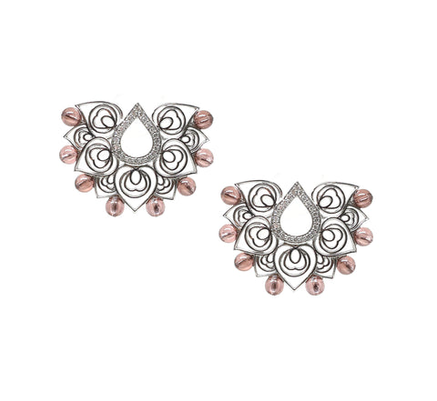 Arabesque Baby Pink Drop Earrings