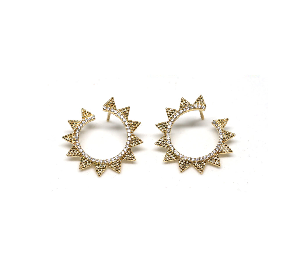 Triangular Diamond Hoop Earrings