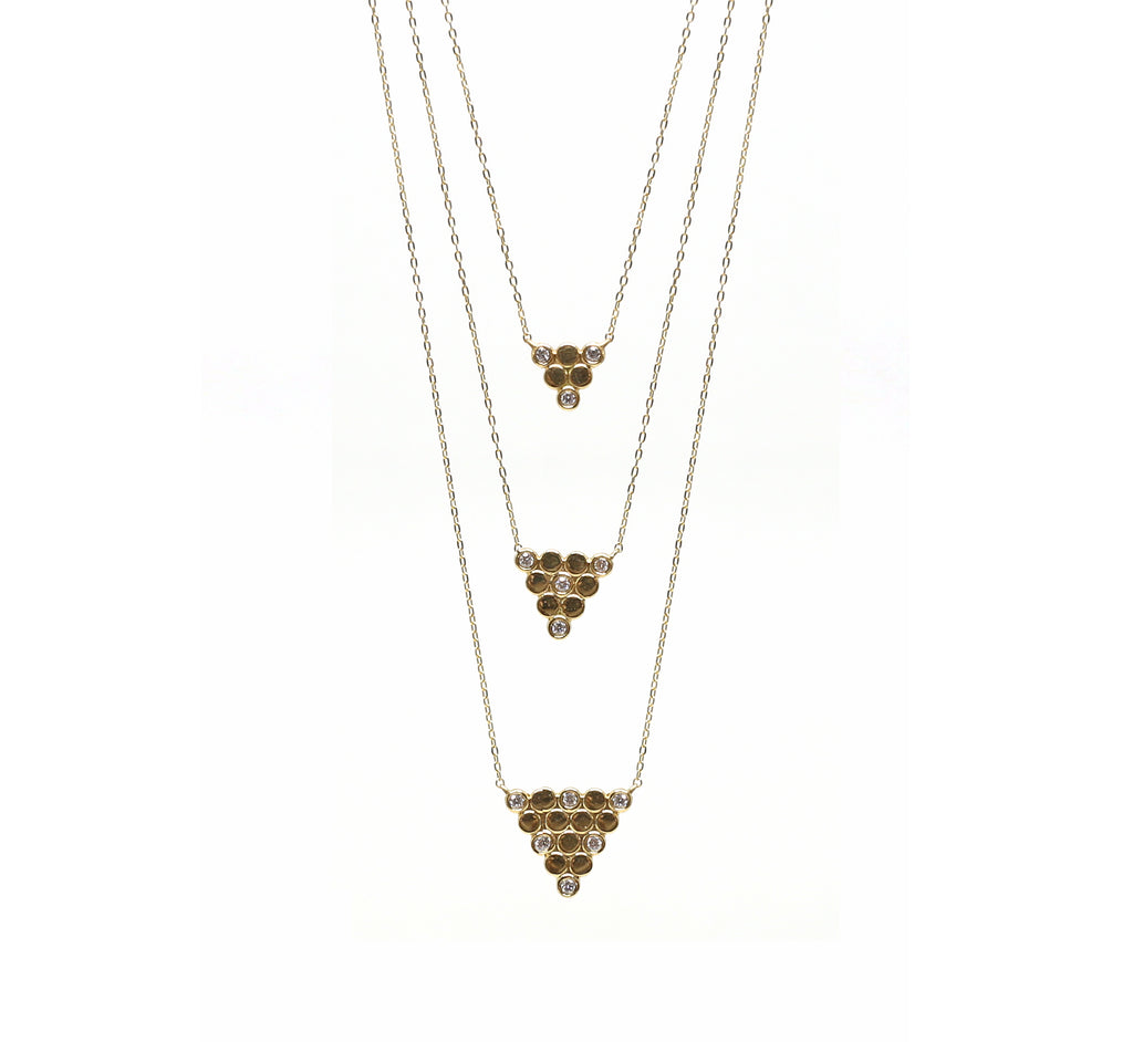 Triangle Stacked Diamond Necklace