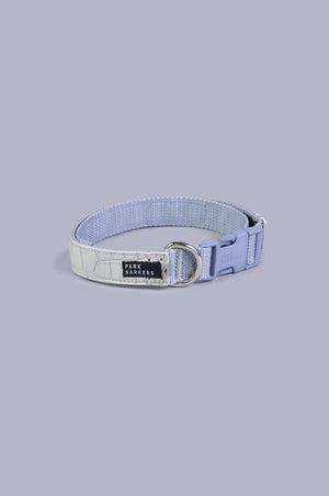 product shot of alligator textured, grey hyde collar. clipped up, circular shot