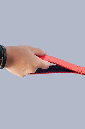 hand holding red vegan leather dog lead by the handle