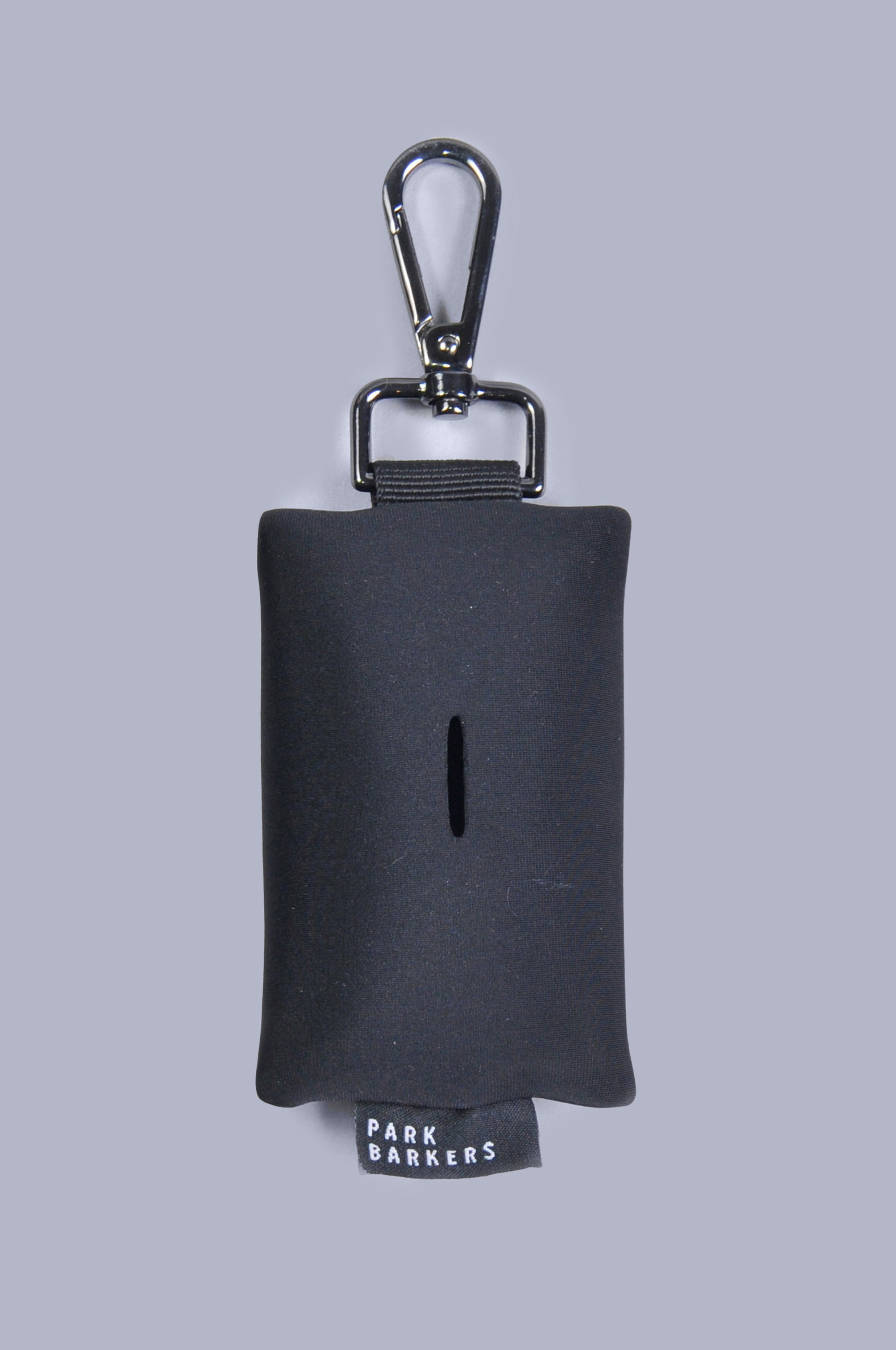 Front view of black neoprene dog wast bag holder