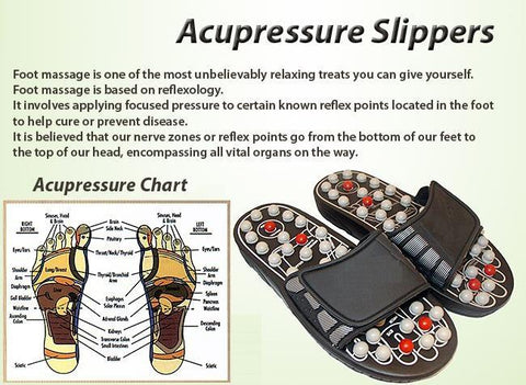 (Buy 1 Pair Take 1 Pair) Acupressure Foot Reflex Massage Slippers with Free Foot Detox Patch