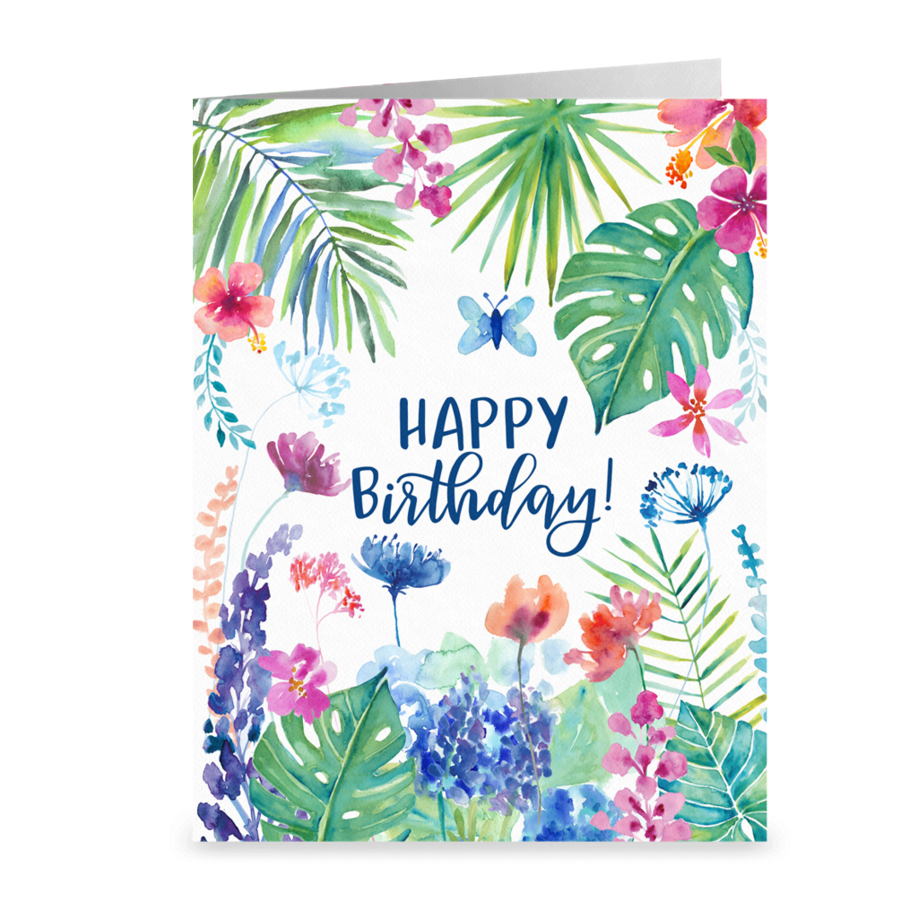 Happy Birthday Tropical Garden Greeting Card