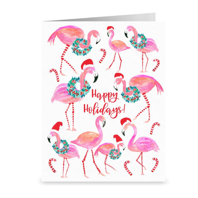 Happy Holidays Flamingos Greeting Card