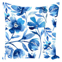 Load image into Gallery viewer, Indigo Flowers Pillow