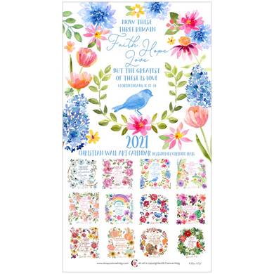 Faith Hope Love 2021 Christian Wall Calendar