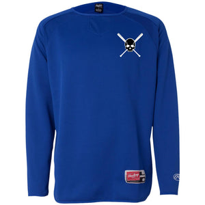 Skull and Bats Rawlings Dugout Fleece Pullover - GrandSlamDirect.com
