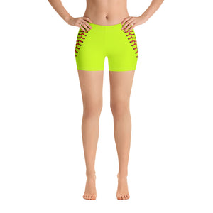 Softball Stitch Shorts - Optic Yellow and Red