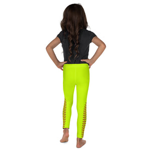 Softball Stitch Kid's Leggings - Optic Yellow and Red