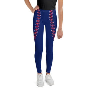 Baseball Stitch Youth Leggings - Navy and Red - GrandSlamDirect.com