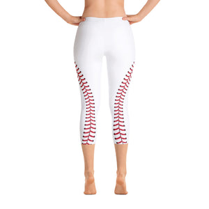 Baseball Stitch Capri Leggings - White and Red - GrandSlamDirect.com