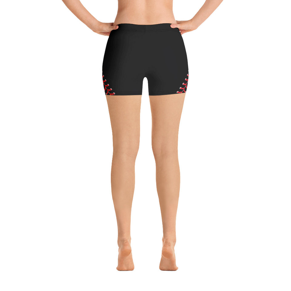 Baseball Stitch Shorts - Black and Red - GrandSlamDirect.com