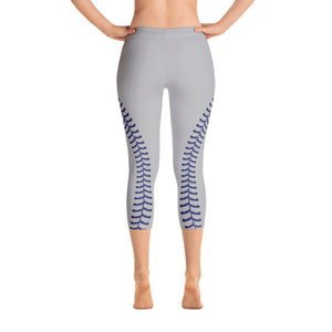 Baseball Stitch Capri Leggings - Grey and Navy - GrandSlamDirect.com
