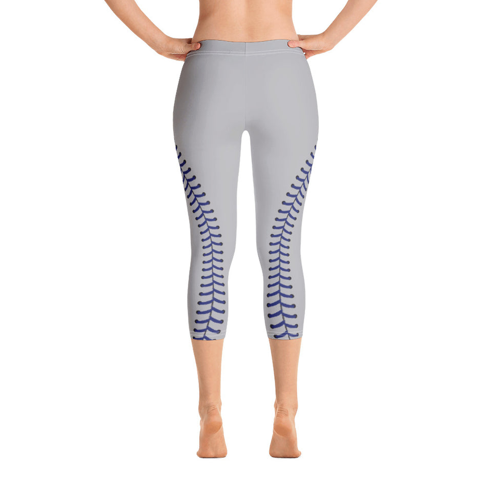 Baseball Stitch Capri Leggings - Grey and Navy