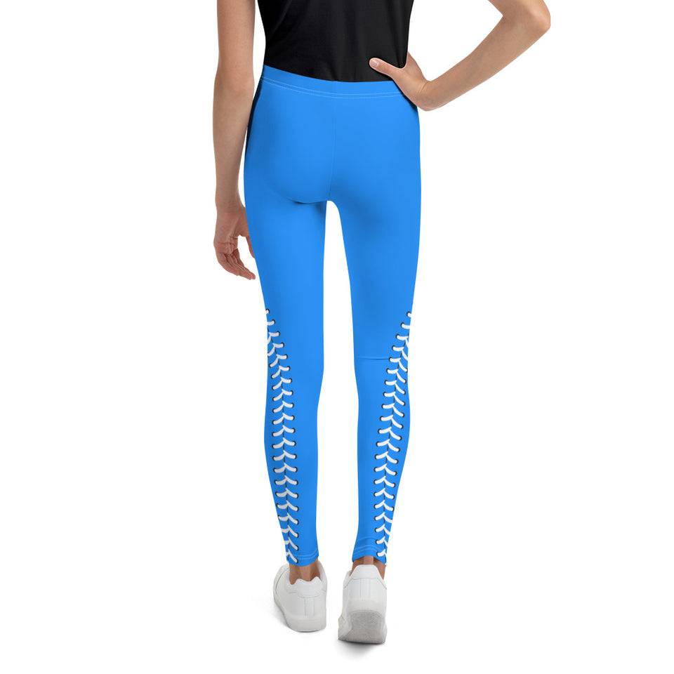 Baseball Stitch Youth Leggings - Royal and White - GrandSlamDirect.com