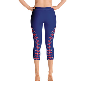 Baseball Stitch Capri Leggings - Navy and Red - GrandSlamDirect.com