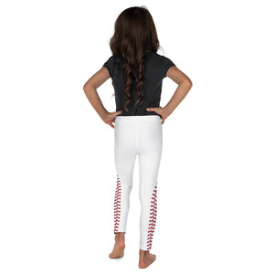 Baseball Stitch Kid's Leggings - White and Red - GrandSlamDirect.com
