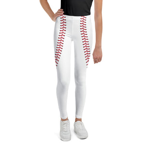 Baseball Stitch Youth Leggings - White and Red - GrandSlamDirect.com