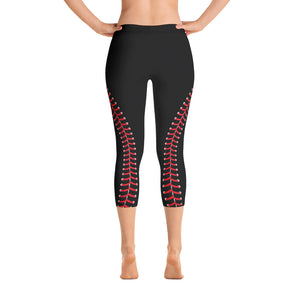 Baseball Stitch Capri Leggings - Black and Red - GrandSlamDirect.com