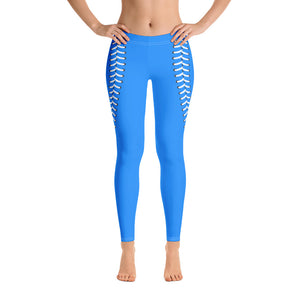 Baseball Stitch Leggings - Royal and White - GrandSlamDirect.com