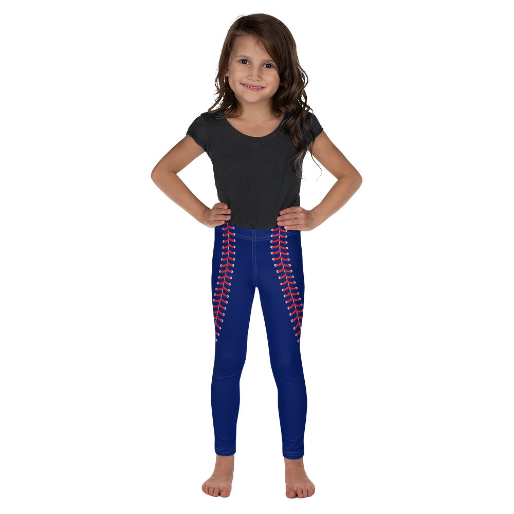 Baseball Stitch Kid's Leggings - Navy and Red - GrandSlamDirect.com