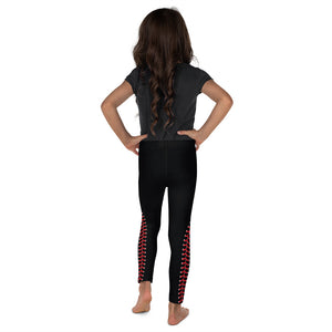 Baseball Stitch Kid's Leggings - Black and Red - GrandSlamDirect.com