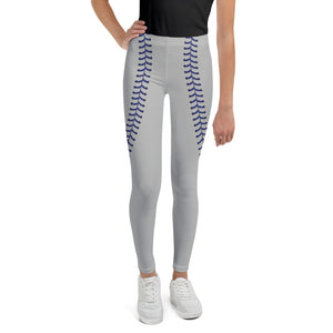Baseball Stitch Youth Leggings - Grey and Navy - GrandSlamDirect.com