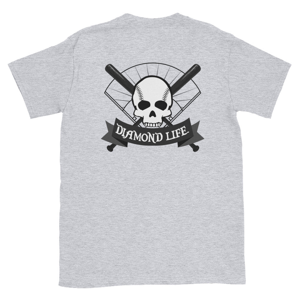 "Skull and Bats ""The Yard"" Front and Back Traditional Tee - GrandSlamDirect.com"
