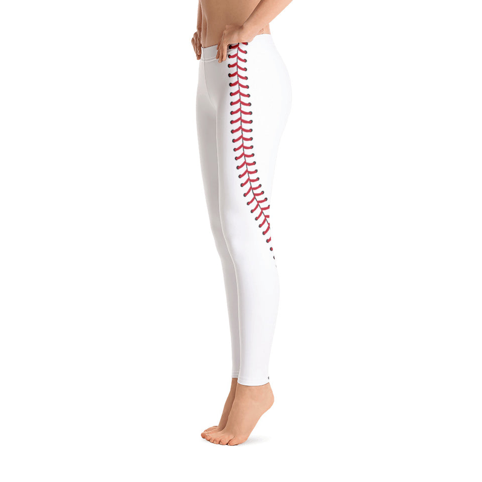 Baseball Stitch Leggings - White and Red - GrandSlamDirect.com