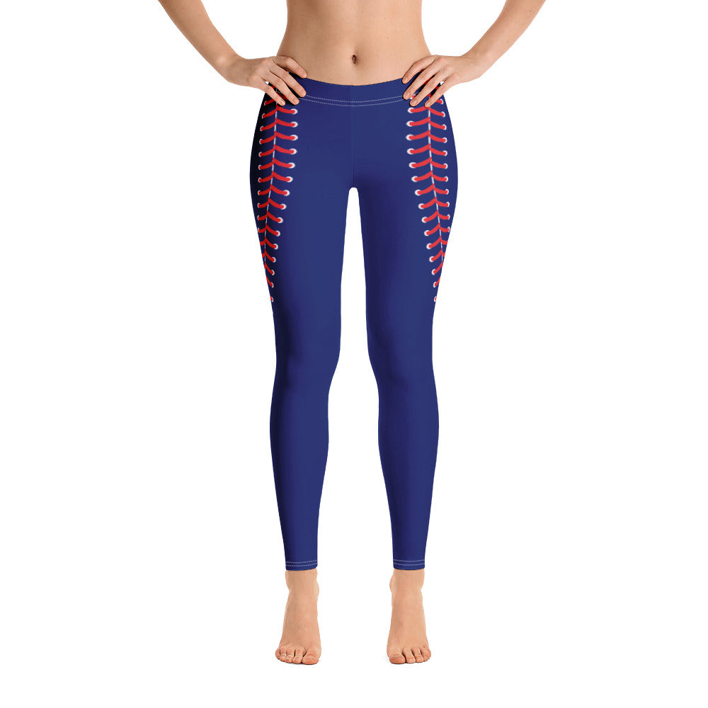 Baseball Stitch Leggings - Navy and Red - GrandSlamDirect.com