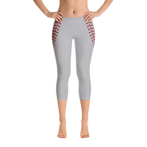 Baseball Stitch Capri Leggings - Grey and Red - GrandSlamDirect.com