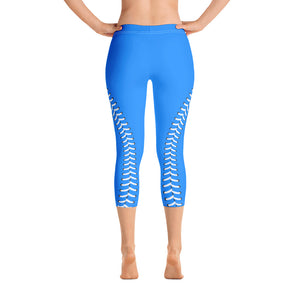 Baseball Stitch Capri Leggings - Royal and White - GrandSlamDirect.com