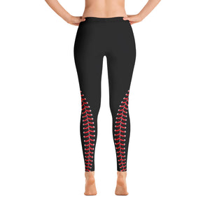 Baseball Stitch Leggings - Black and Red