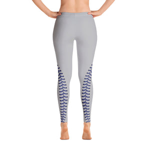 Baseball Stitch Leggings - Grey and Navy - GrandSlamDirect.com