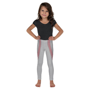 Baseball Stitch Kid's Leggings - Grey and Red - GrandSlamDirect.com