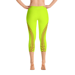 Softball Stitch Capri Leggings - Optic Yellow and Red