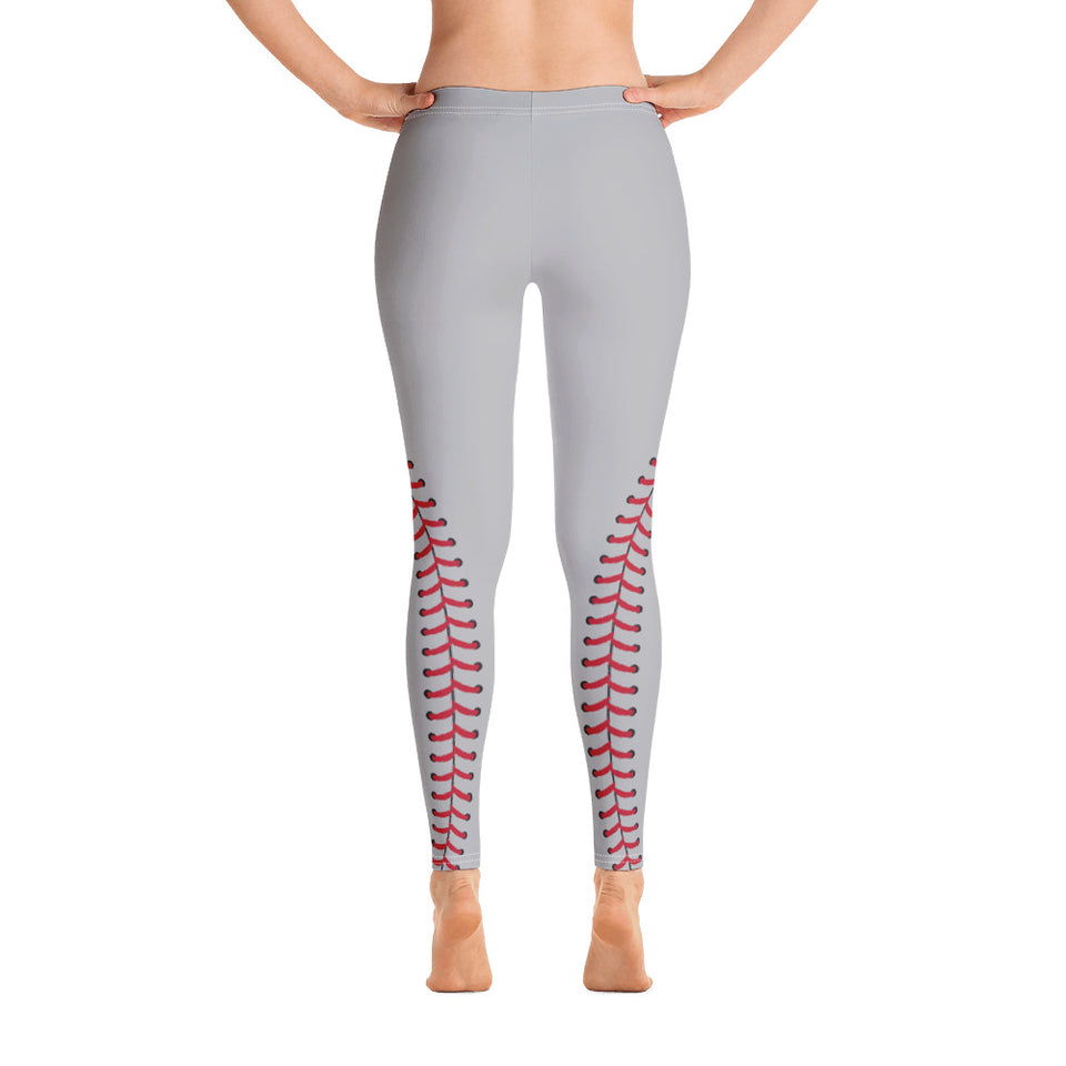 Baseball Stitch Leggings - Grey and Red - GrandSlamDirect.com
