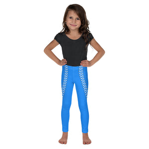 Baseball Stitch Kid's Leggings - Royal and White - GrandSlamDirect.com