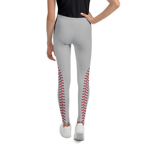 Baseball Stitch Youth Leggings - Grey and Red - GrandSlamDirect.com