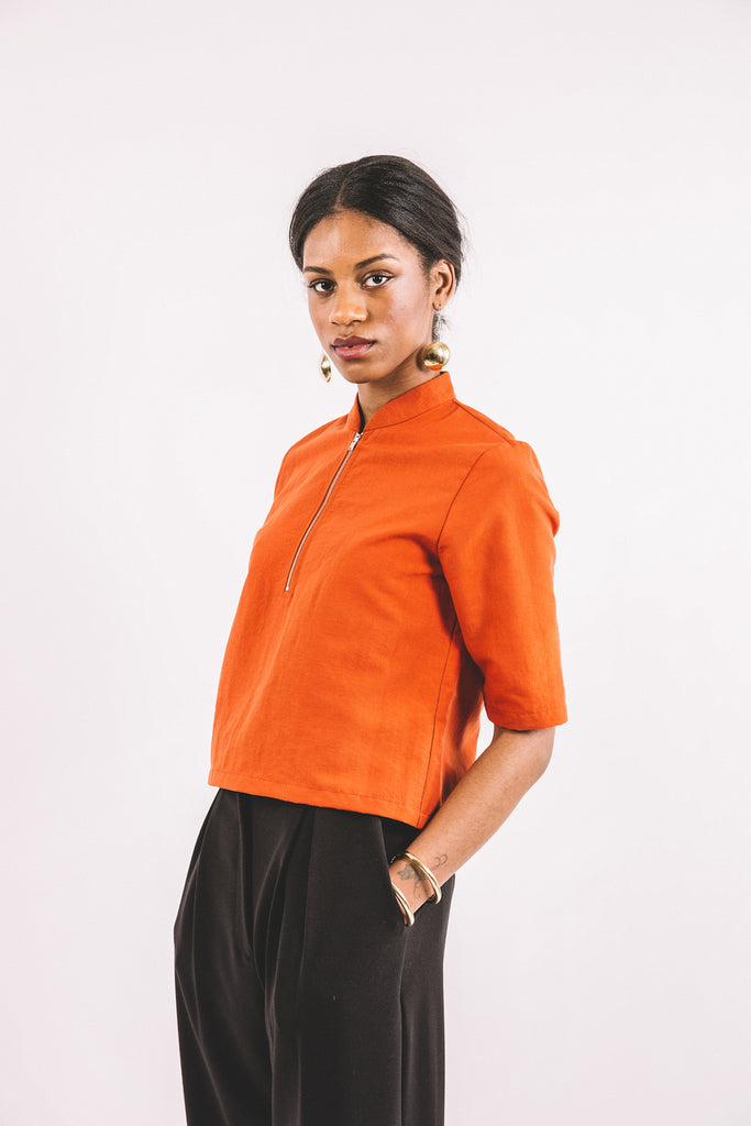 PERCY TOP - ORANGE POPLIN