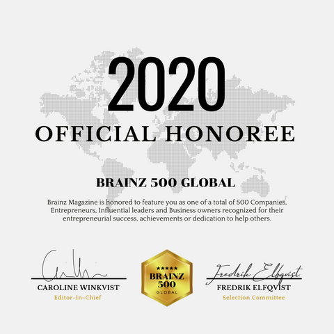 2020 Official Brainz 500 Global Honoree