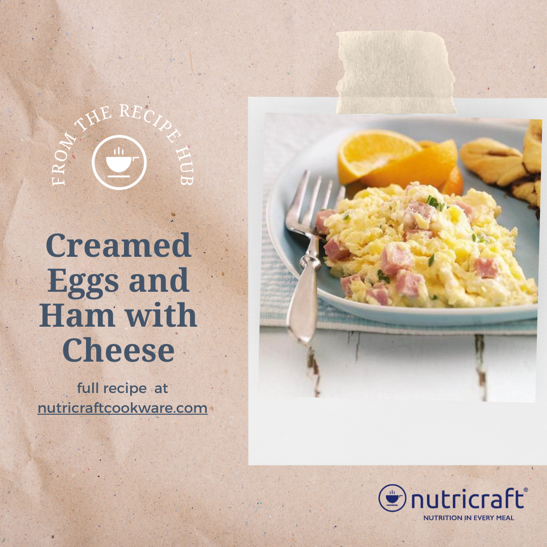 Creamed Eggs and Ham with Cheese, Breakfast, Egg, Ham, Cheese, Recipe