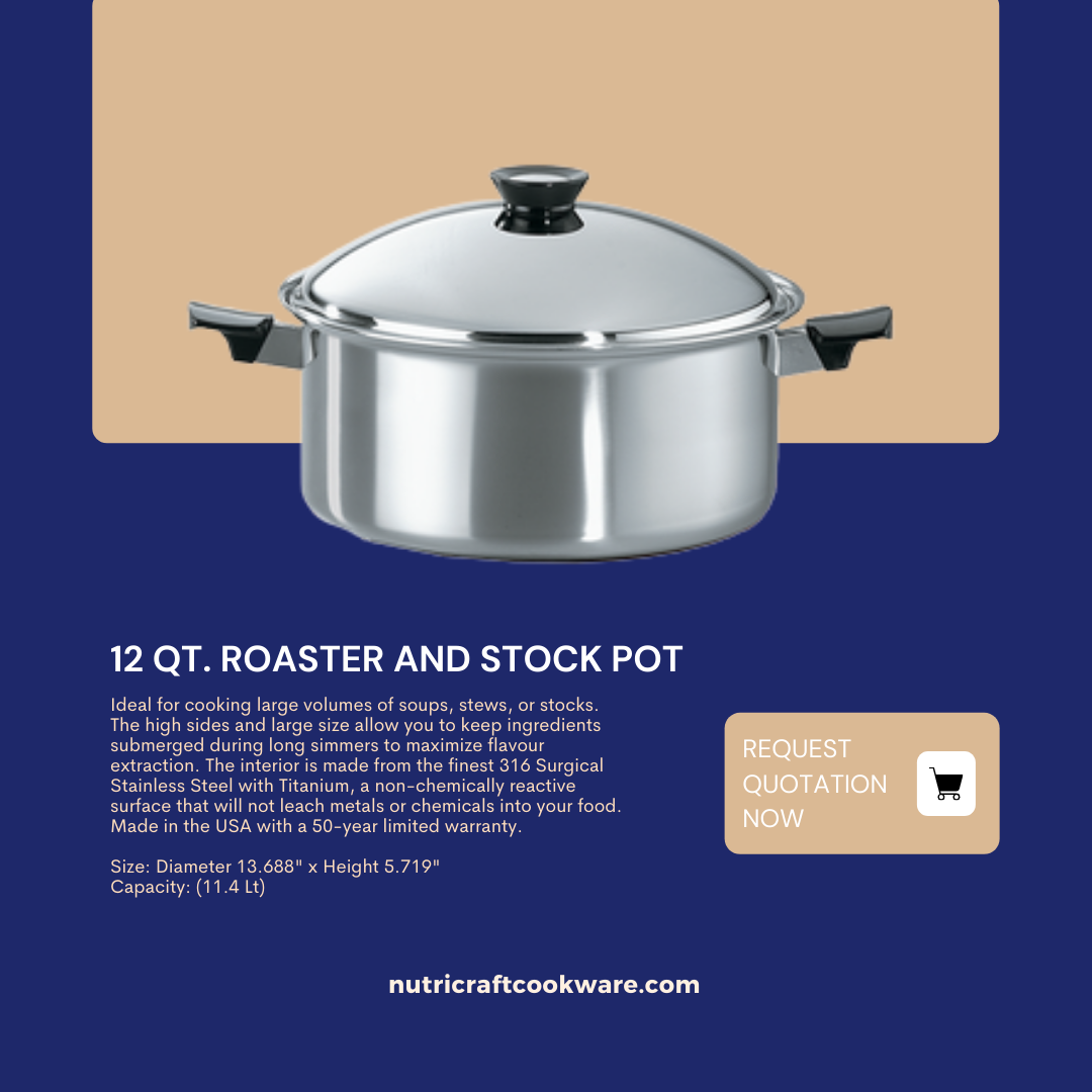 Nutricraft 12 qt. Roaster/Stock Pot and Cover 11L, Titanium Stainless Steel (316ti), Made in the U.S.A.