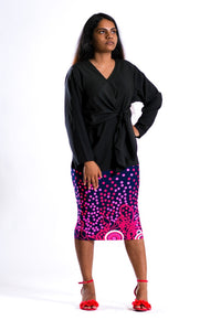 Aurella Black Wrap Top