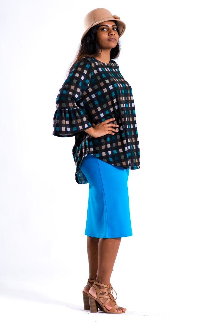 Callie Turquoise Pencil Skirt