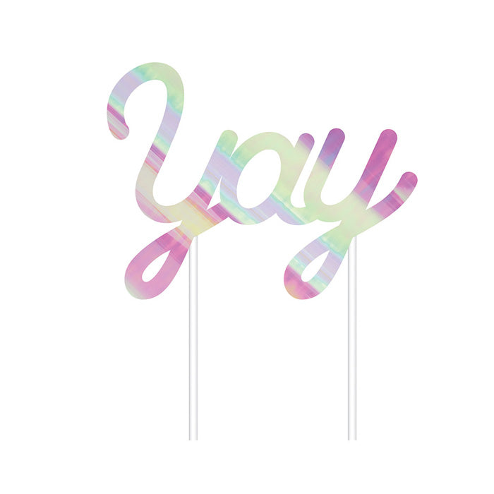 """YAY"" Iridescent Cake Topper"