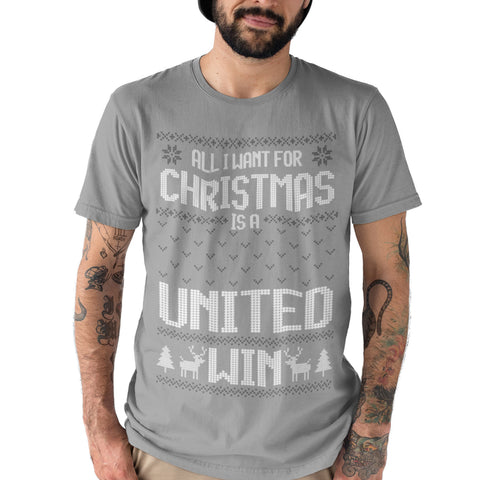 All I Want For Christmas Is A United Win Football T Shirt - Purple Print House